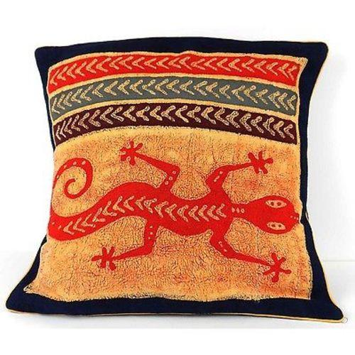 Handmade Colorful Lizard Cushion Cover - Tonga Textiles - Urban Hollywood | UrbanHollywood.com