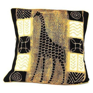 Handmade Black and White Giraffe Batik Cushion Cover - Tonga Textiles - Urban Hollywood | UrbanHollywood.com