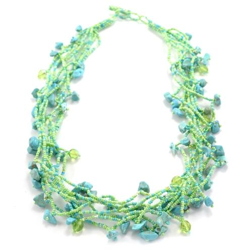 Chunky Stone Necklace - Seafoam Greens - Lucias Imports (J) - Urban Hollywood | UrbanHollywood.com