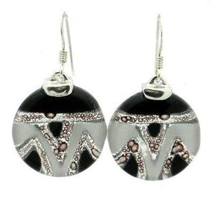 Aztec Black and White Round Glass Sterling Silver Earrings - Tili Glass - Urban Hollywood | UrbanHollywood.com
