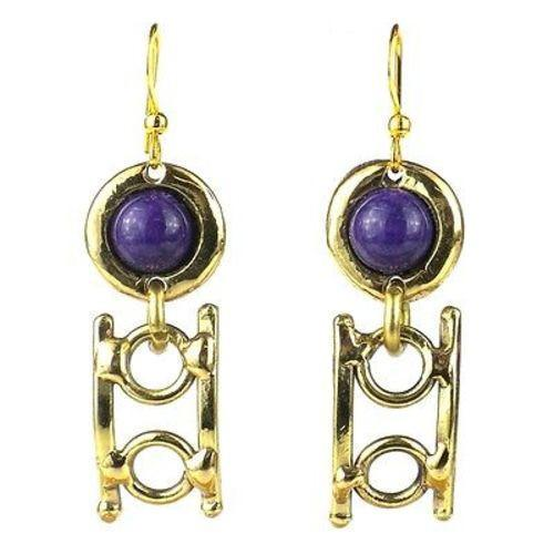 Purple Stone Playground Brass Earrings - Brass Images (E) - Urban Hollywood | UrbanHollywood.com