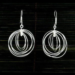 Large Silverplated Seven Circles Earrings - Artisana - Urban Hollywood | UrbanHollywood.com
