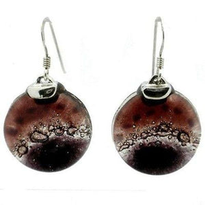 Ripe Plum Fused Glass Earrings with Sterling Silver - Tili Glass - Urban Hollywood | UrbanHollywood.com
