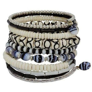 Ten Turn Bead and Bone Bracelet - Black & White - CFM - Urban Hollywood | UrbanHollywood.com