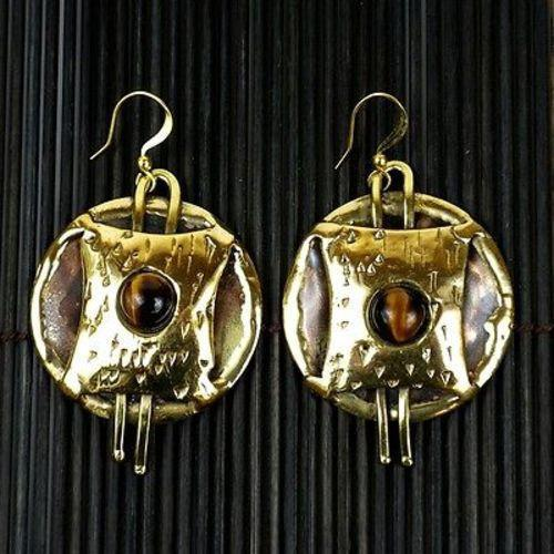 Tigers Eye Strength Earrings - Brass Images (E) - Urban Hollywood | UrbanHollywood.com
