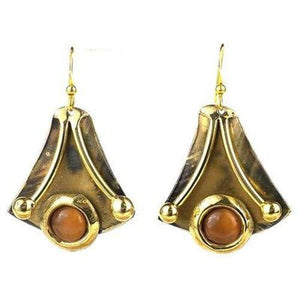 Reborn Peach Tiger Eye Brass Earrings - Brass Images (E) - Urban Hollywood | UrbanHollywood.com