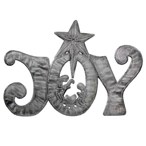 "JOY Metal Art with Nativity Scene (11"" x 8"") - Croix des Bouquets (H) - Urban Hollywood 