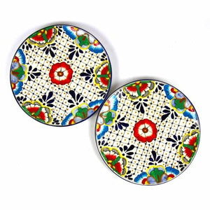 Dinner Plates 11.8in - Dots and Flowers, Set of Two - Encantada - Urban Hollywood | UrbanHollywood.com