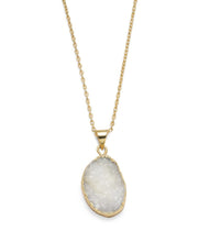 Load image into Gallery viewer, Rishima Druzy Drop Necklace - White - Matr Boomie (Jewelry) - Urban Hollywood | UrbanHollywood.com