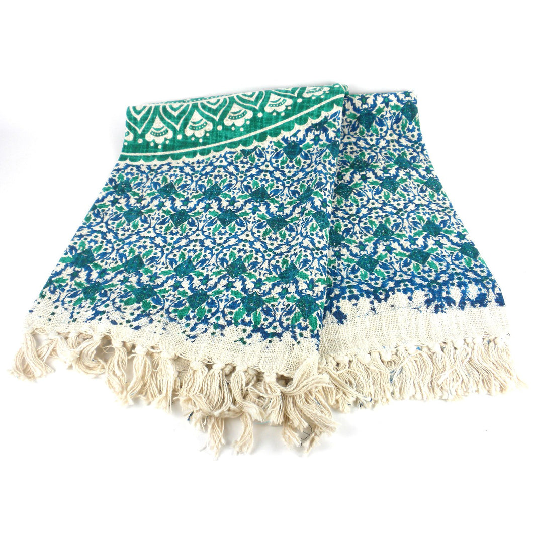 Mandala Throw Green 50 by 70 inches - Mira (L) - Urban Hollywood | UrbanHollywood.com