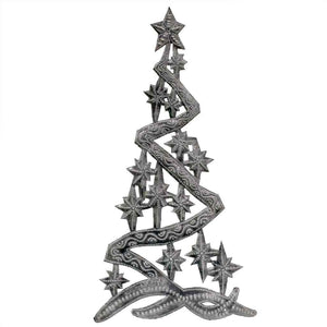 "Christmas Tree Metal Wall Art (14"" x 7"") - Croix des Bouquets (H) - Urban Hollywood 