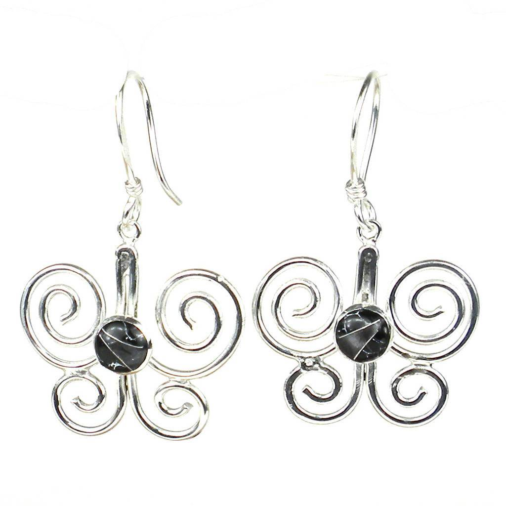 Silver Butterfly Earring with Black Mosaic Accent - Artisana - Urban Hollywood | UrbanHollywood.com