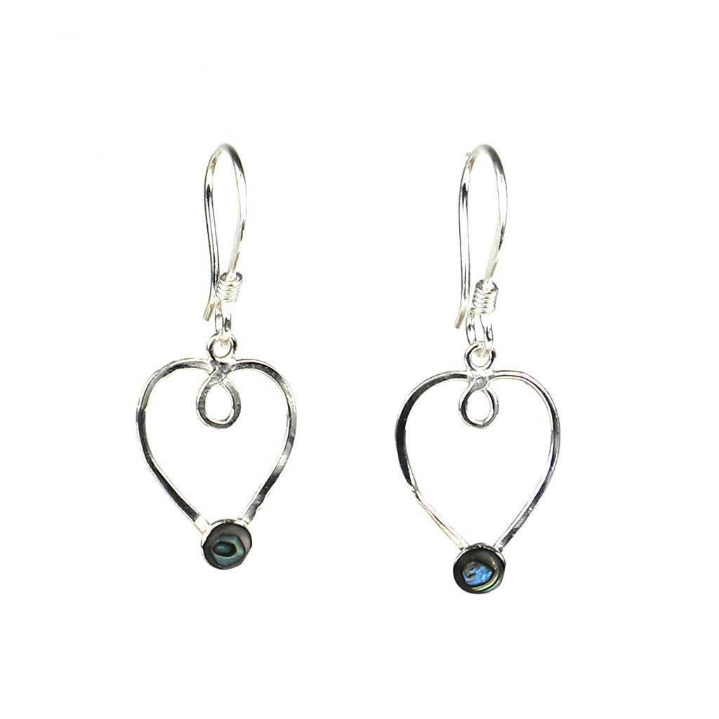 Silver Heart Earrings with Abalone Accent - Artisana - Urban Hollywood | UrbanHollywood.com