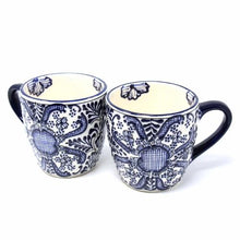 Load image into Gallery viewer, Rounded Mugs - Blue Flowers Pattern, Set of Two - Encantada - Urban Hollywood | UrbanHollywood.com