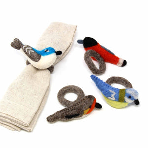 Hand-felted Bird Napkin Rings, Set of Four Colors - Global Groove (T) - Urban Hollywood | UrbanHollywood.com