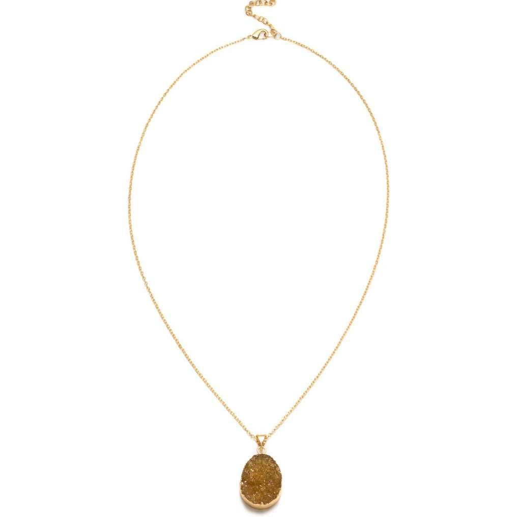 Rishima Druzy Drop Necklace - Citrine - Matr Boomie (Jewelry) - Urban Hollywood | UrbanHollywood.com