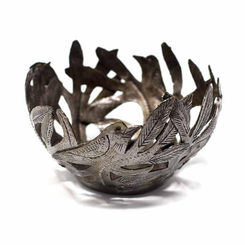 Decorative Metal Bowl with Birds - Croix des Bouquets - Urban Hollywood | UrbanHollywood.com