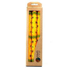Load image into Gallery viewer, Hand Painted Candles in Yellow Masika Design (three tapers) - Nobunto - Urban Hollywood | UrbanHollywood.com
