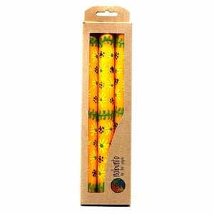Hand Painted Candles in Yellow Masika Design (three tapers) - Nobunto - Urban Hollywood | UrbanHollywood.com