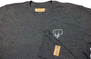 Elephant Head Crewneck Tee in Charcoal Heather with White Embroidery