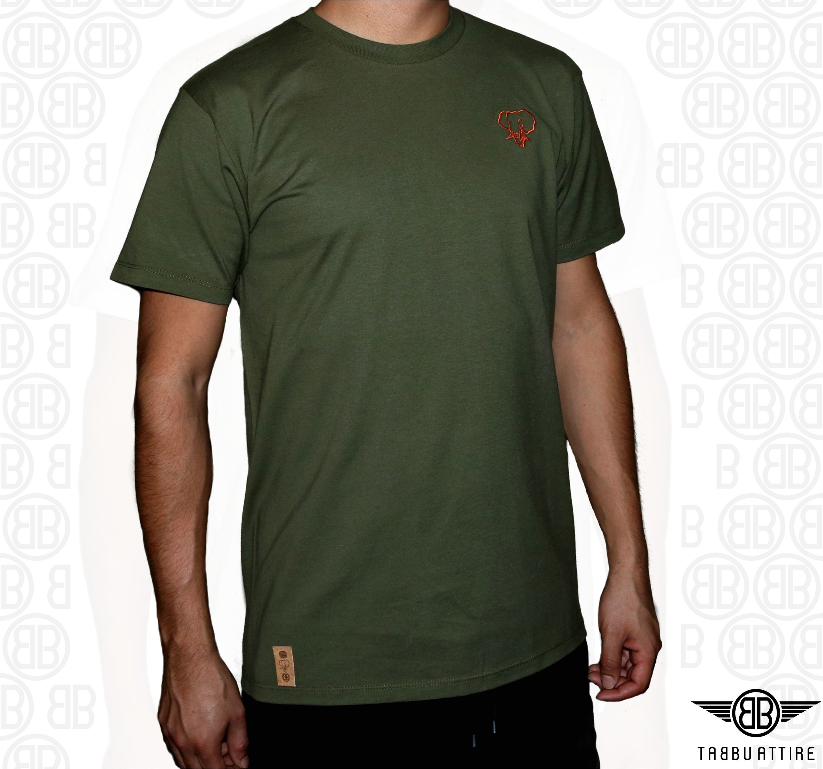 Elephant Head Military Tee/Orange Embroidery