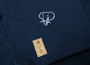 Elephant Head Crewneck Tee in Navy with White Embroidery