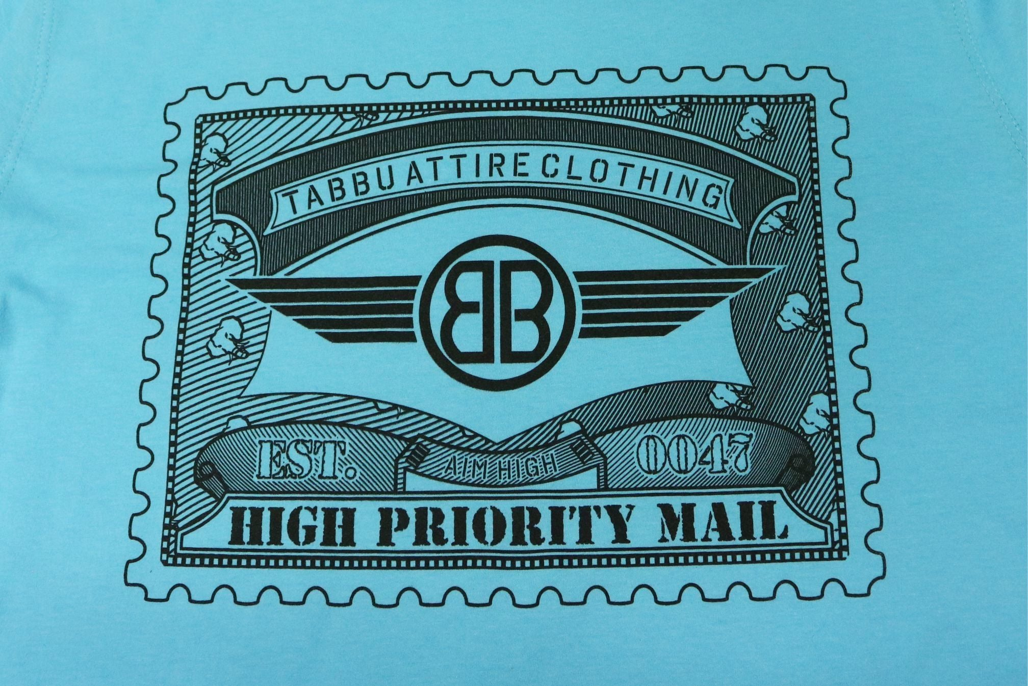Tabbu Mail Stamp Short Sleeve Tee- Sky Blue
