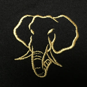 Elephant Head Crewneck Tee in Black with Gold Embroidery