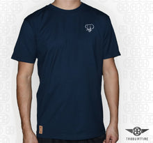 Load image into Gallery viewer, Elephant Head Crewneck Tee in Navy with White Embroidery