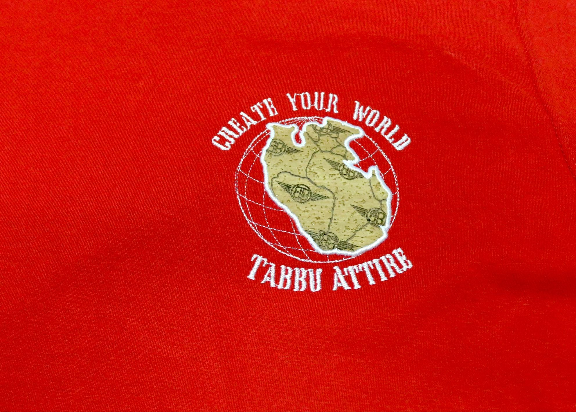 Create Your World Short Sleeve Tee- Red/White Embroidery