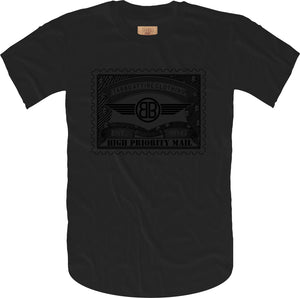 Tabbu Mail Stamp Short Sleeve Tee- Black