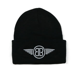 Beanie B Wing Logo in Black with White Embroidery
