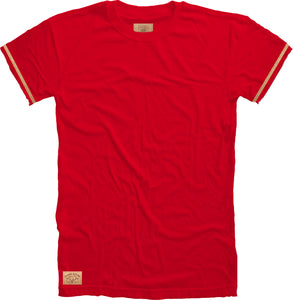 Cork Stripe Crewneck Tee in Cardinal