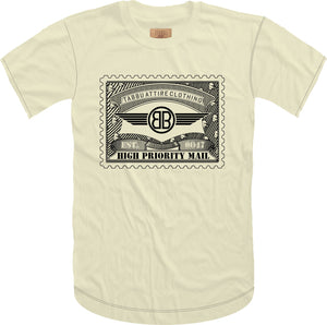 Tabbu Mail Stamp Short Sleeve Tee- Cream