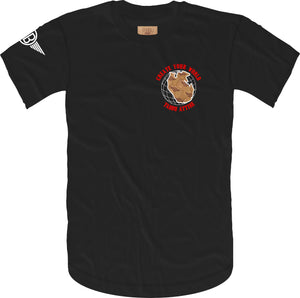 Create Your World Short Sleeve Tee- Black/Red White Embroidery