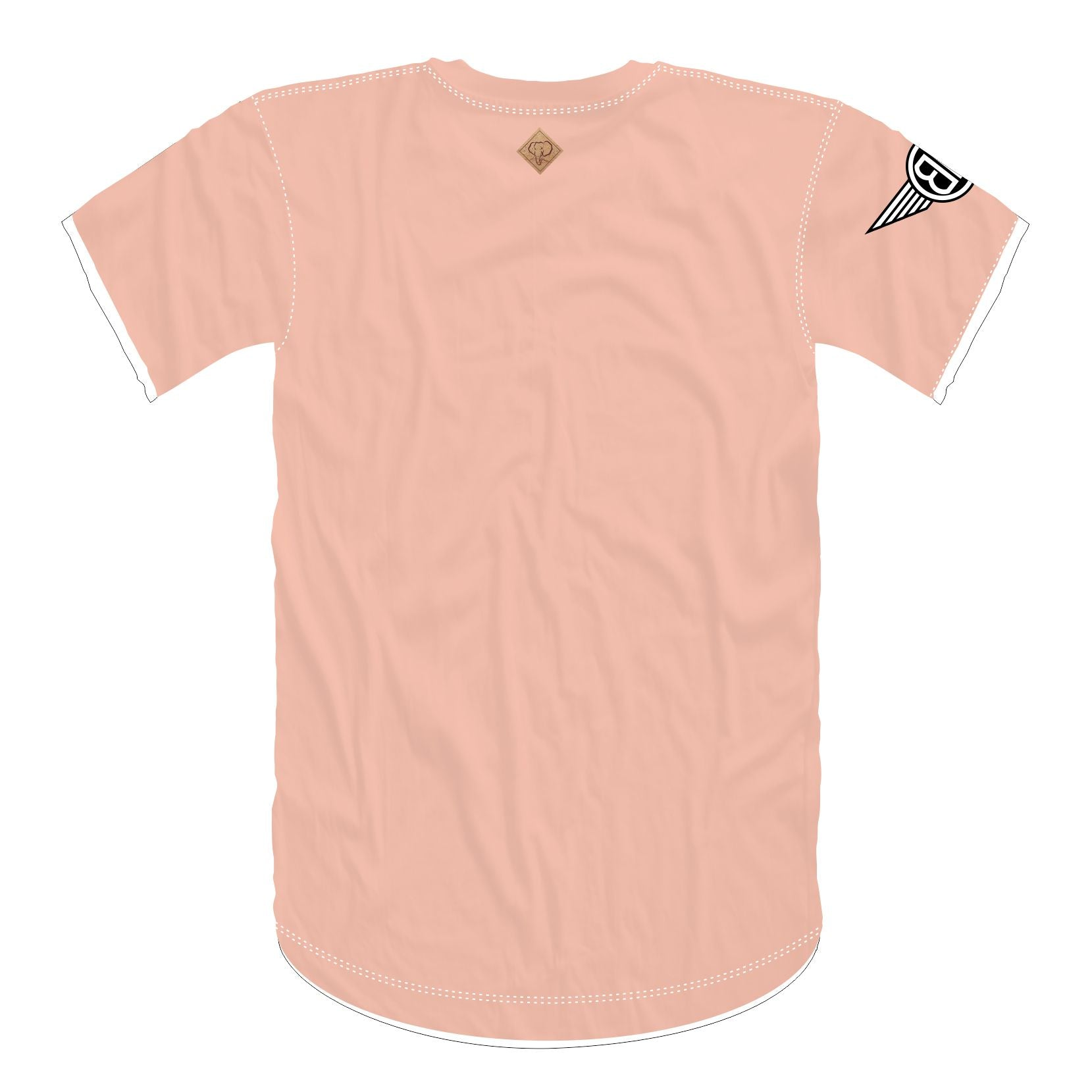 Oversized Elephant Head Tee in Peach with White/Black Embroidery