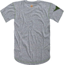 Load image into Gallery viewer, Handwritten Elephant Trunk Insert Short Sleeve Tee- Heather Grey/Black with Green Accents