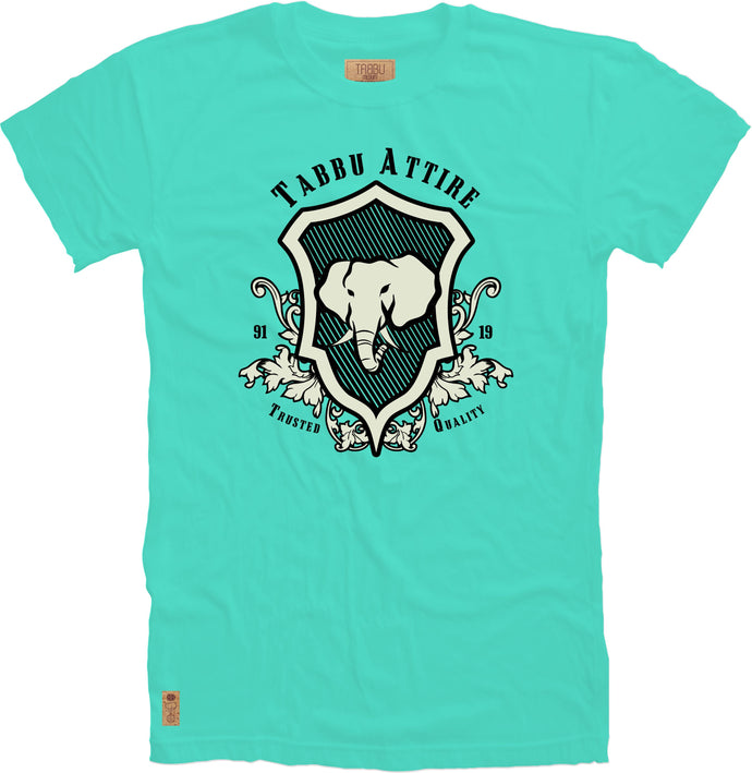 Elephant Shield Crewneck Tee in Celadon