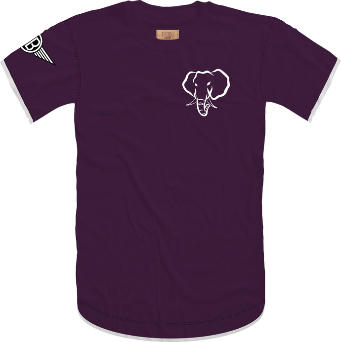 Oversized Elephant Head 2.0 Crewneck Tee in Plumb with White Embroidery