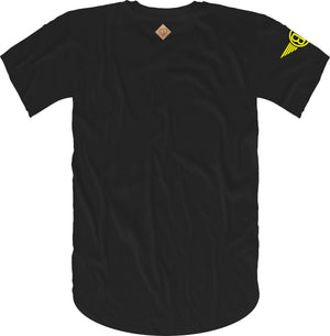 Oversized Elephant Head Tee in Black with Yellow Embroidery
