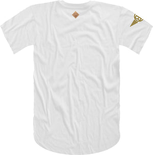 Oversized Elephant Head Tee in White with Gold Embroidery