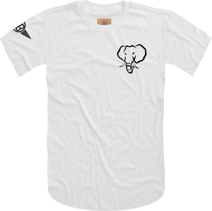 Oversized Elephant Head Tee in White with Black Embroidery