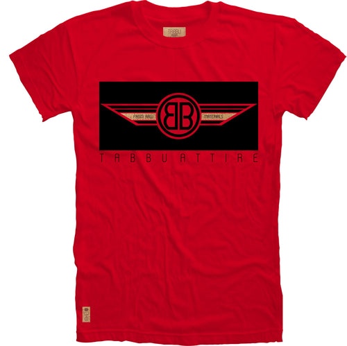 Double B Wing Crewneck Tee in Red