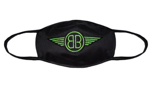 B Wing Face Mask in Black with Green Classic or Reversible