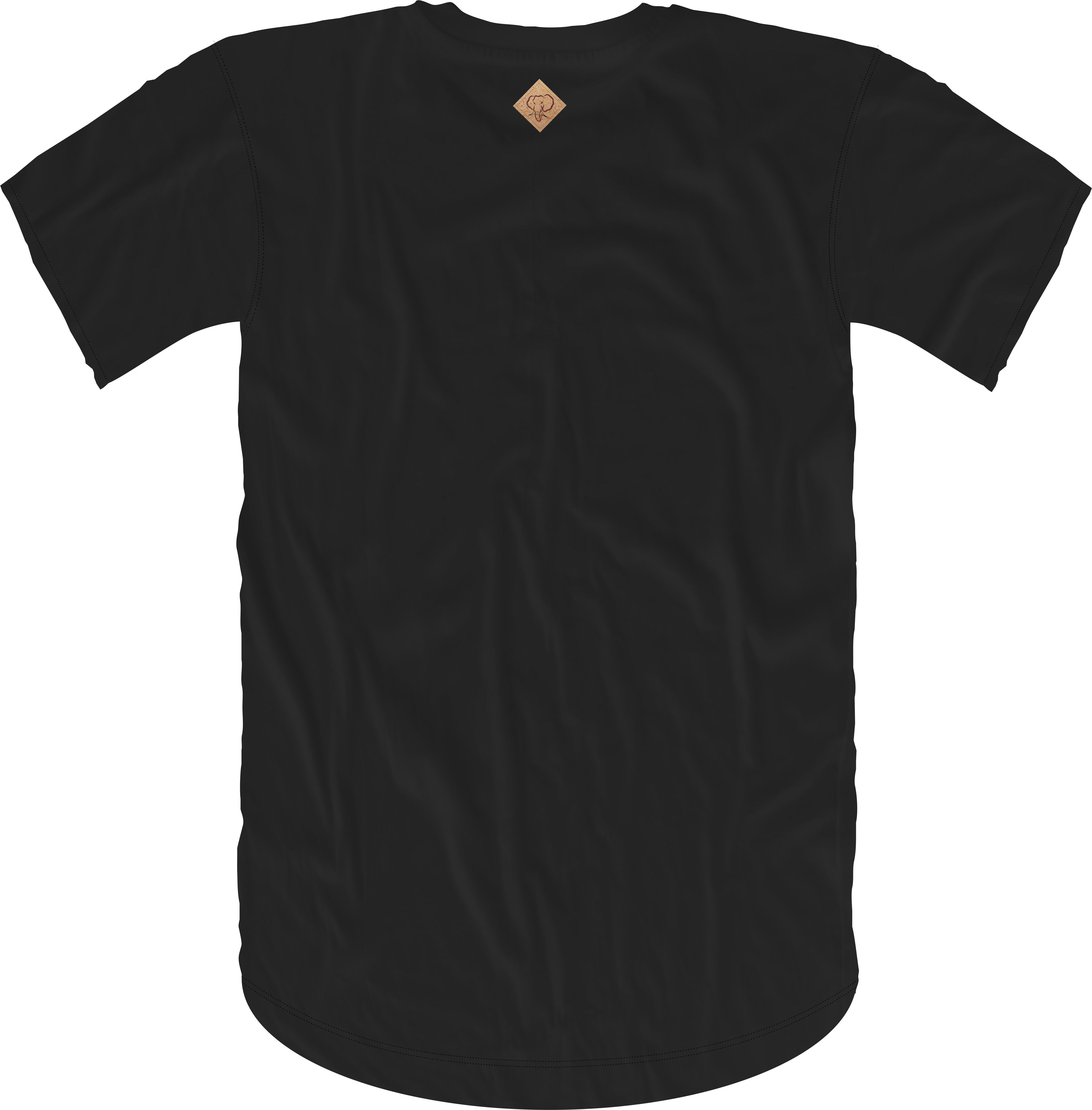 Handwritten Elephant Trunk Insert Short Sleeve Tee- Black