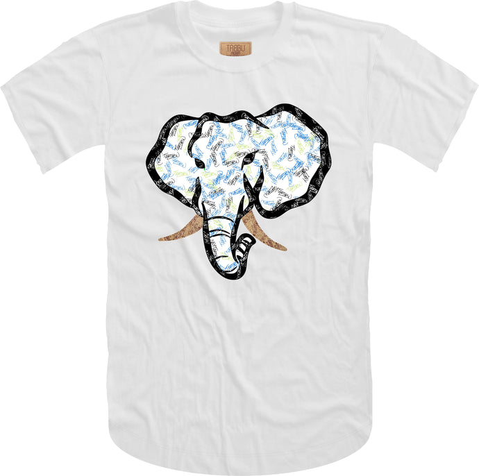 Handwritten Elephant Trunk Insert Short Sleeve Tee- White