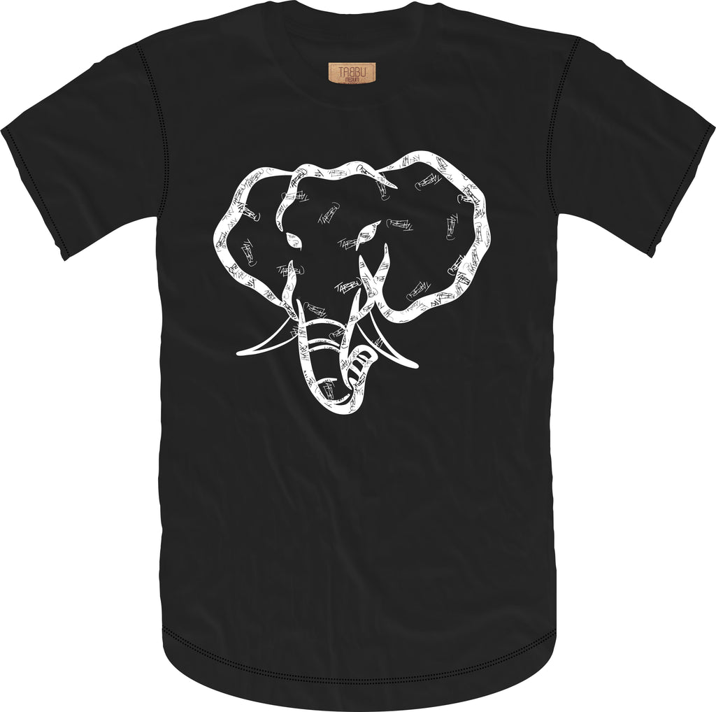 Handwritten Elephant Short Sleeve Tee- Black/White
