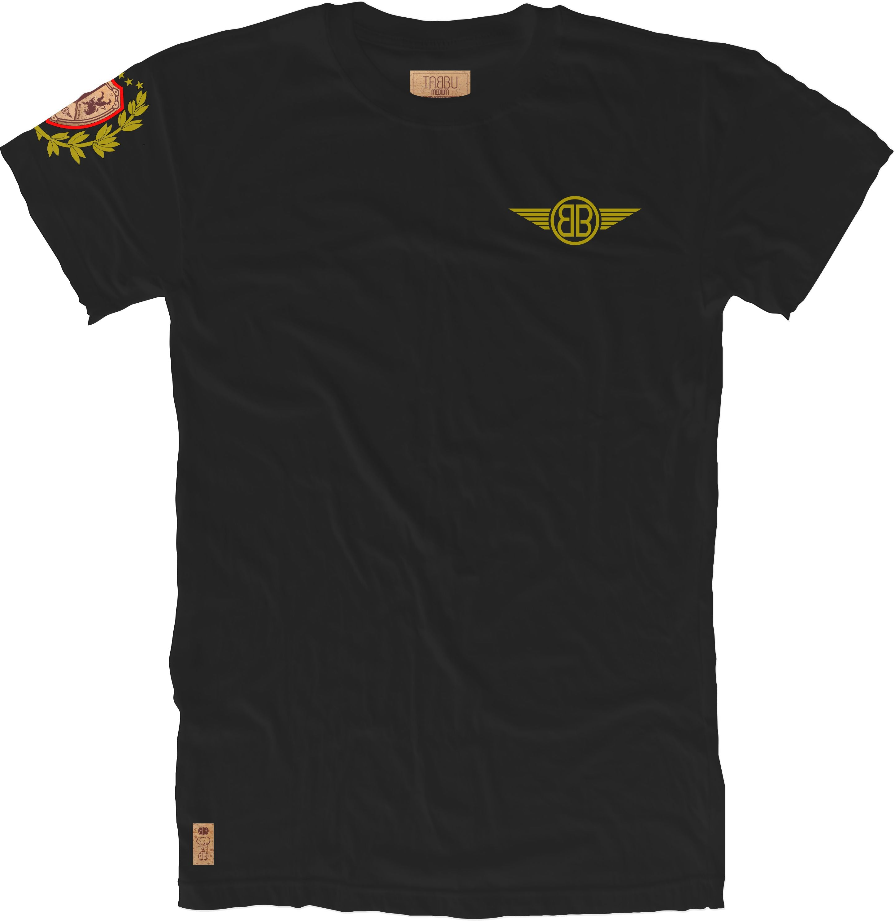 Lion Cork Shield Crewneck Tee in Black with Red/Gold Embroidery