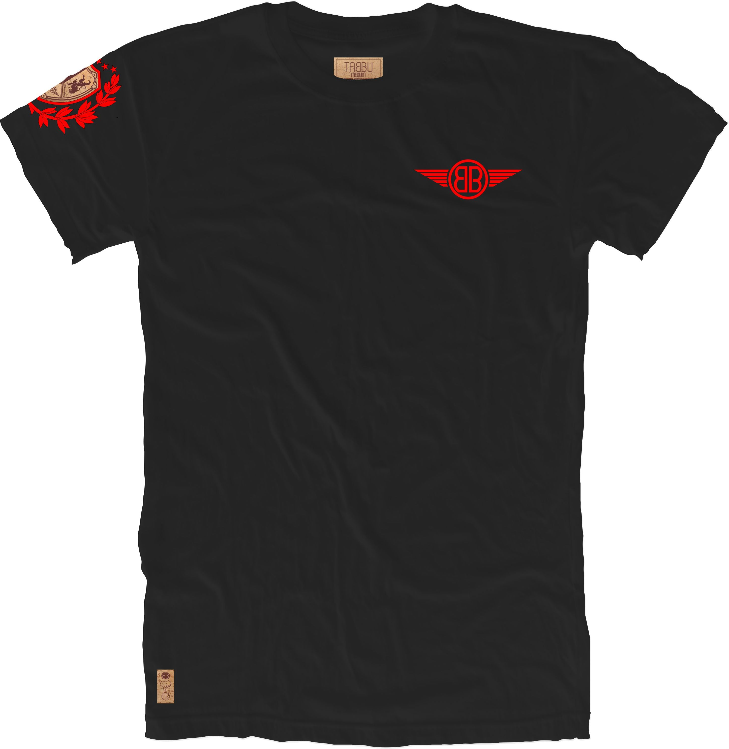 Lion Cork Shield Crewneck Tee in Black with Red Embroidery