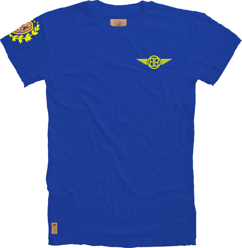 Lion Cork Shield Crewneck Tee in Royal with Yellow Embroidery
